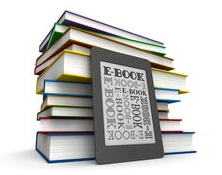 ebook with book stack