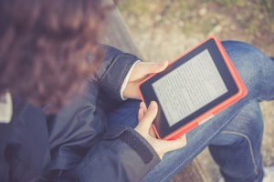 girl reads ebook
