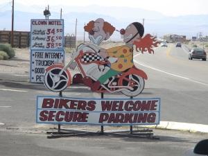 clown motel 8 stamped bg