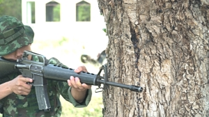 side view: Fully Equipped and Armed Soldier with his gun is behind the tree