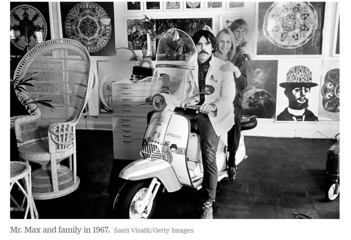 Peter Max on cycle with family in studio